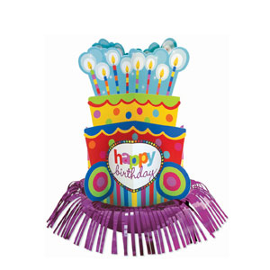 Happy Birthday Dots and Stripes Fringe Centerpiece- 13in