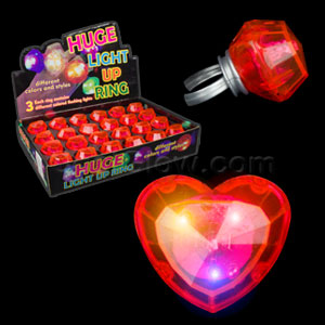 LED Jumbo Heart Rings - Red