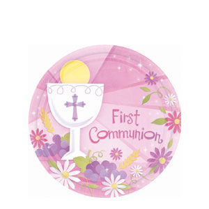 First Communion Pink 7 Inch Plates- 18ct