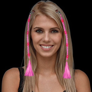LED Braided Hair Extensions - Pink
