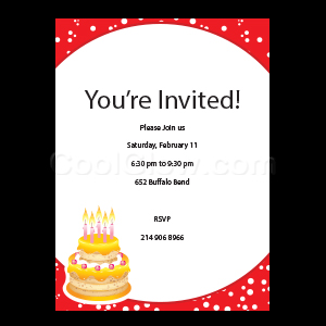Red Cake - Custom Invitations