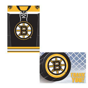 Boston Bruins Invitation and Thank You Card Set- 16ct