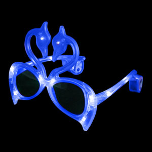 LED Flamingo Sunglasses - Blue