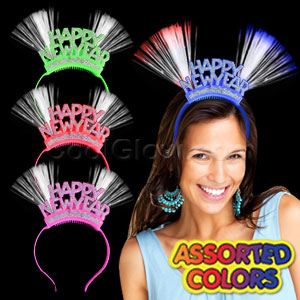 Fun Central M857 LED Light Up Fiber Optic Happy New Year Headbands