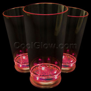 LED Flashing Pint Glass - Red