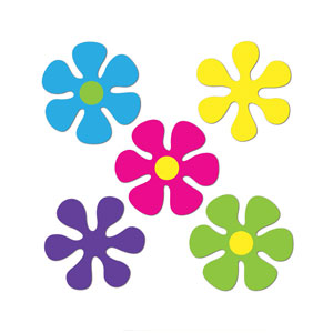 Mini Retro Flower Cutouts - 10ct