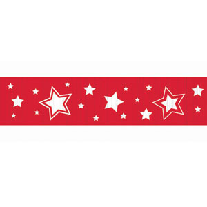 Apple Red Stars Crepe Paper - 81ft
