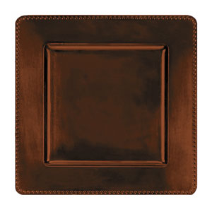 Brown Square Metallic Charger- 12 Inch