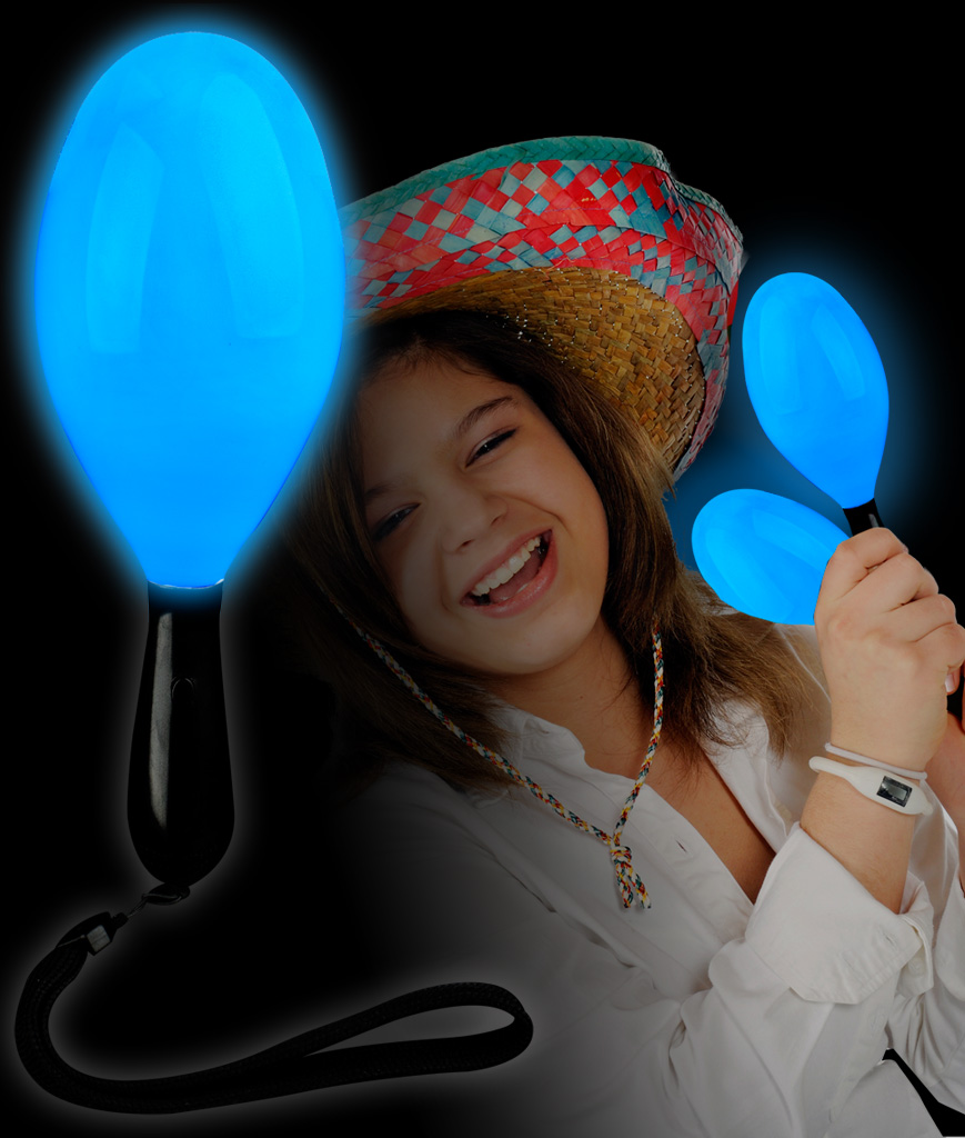 Fun Central AI680 LED Light Up Maraca Supreme - Blue 7 Inch