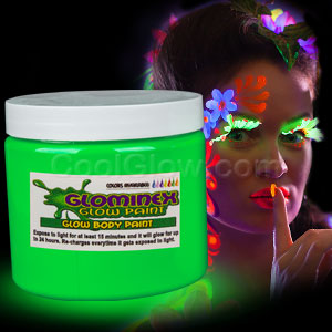 Glominex Glow Body Paint 16oz Jar - Green