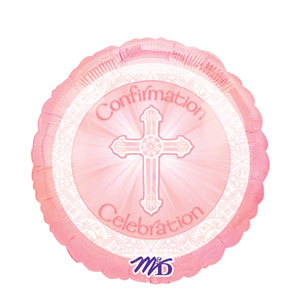 Radiant Cross Pink Confirmation Balloon- 18in