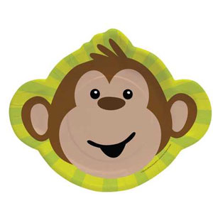 Monkeyin' Around 12 Inch Monkey Shaped Plates- 8ct