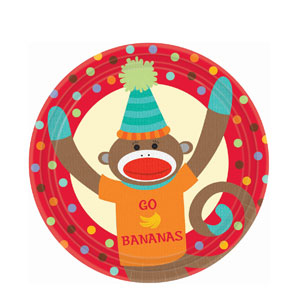 Monkey Party 9 Inch Plates- 8ct