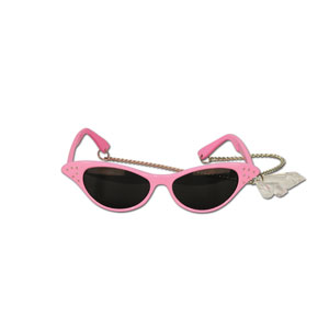 Jeweled Crystal Teardrop Glasses - Pink