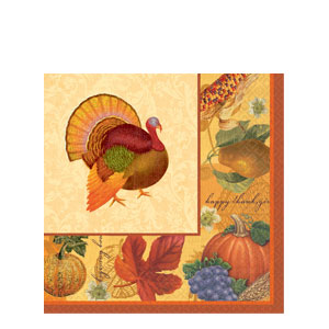 Thanksgiving Scrapbook Plastic Table Cover- 102 Inch