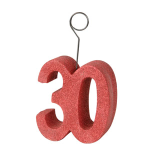 Red Glittered 30th Balloon Holder - 6oz