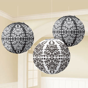 Black Damask Printed Lanterns- 3ct