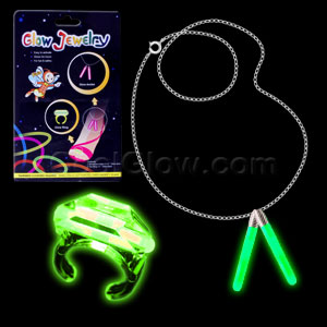Glow Ring and Anklet Set - Green