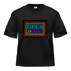 LED Sound Activated T-Shirt - Open 24 Hours
