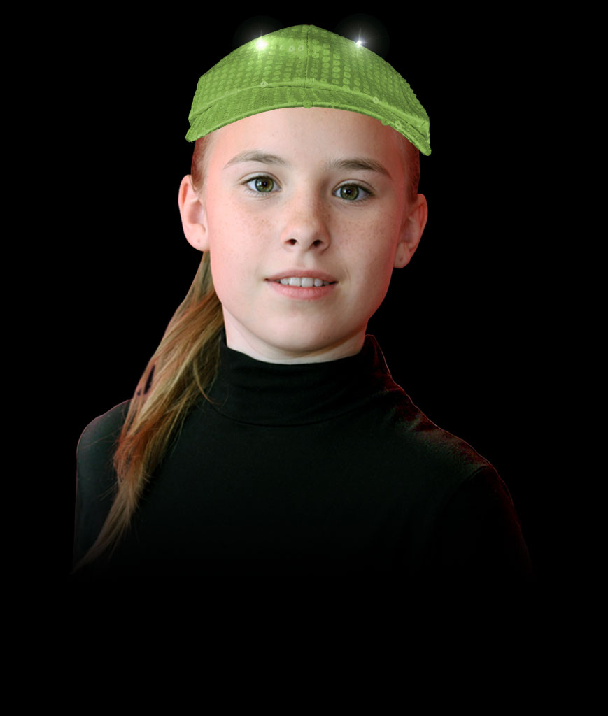 LED Neon Sequin Baseball Hat- Lime Green