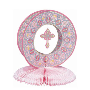 Stained Glass Pink Honeycomb Centerpiece- 10in