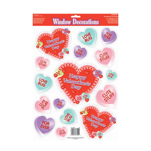 Candy Heart Vinyl Window Decorations