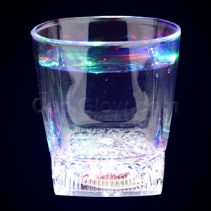 LED 10oz Liquid Activated Square Bottom Whiskey Glass - Multicolor