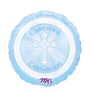 Radiant Cross Blue Christening Balloon- 18in