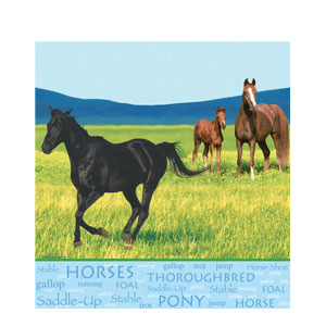 Wild Horses Plastic Tablecover- 108in