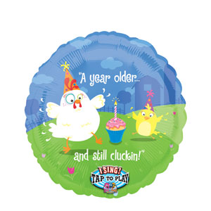 Still Cluckin' Birthday Singing Balloon- 28in