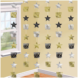 Star String Decorations - Black Gold & Silver 6ct