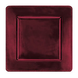 Burgundy Square Metallic Charger- 12 Inch