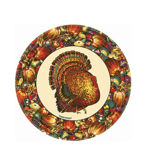 Autumn Turkey 7 Inch Plates- 12ct