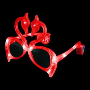 LED Flamingo Sunglasses - Red