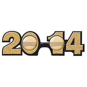 2014 Plastic Glitter Glasses- GOLD