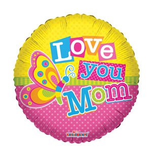 Love Mom Butterfly Balloon- 18in