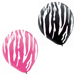 Zebra Assorted Latex Balloons- 20ct