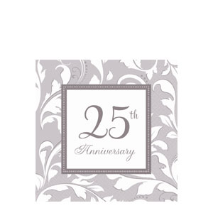 Silver Elegant Scroll Anniversary Luncheon Napkins- 16ct