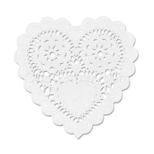 White Heart-Shaped Doilies