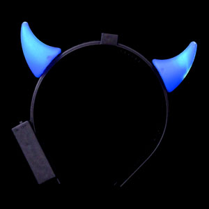 LED Devil Horns Headband - Blue