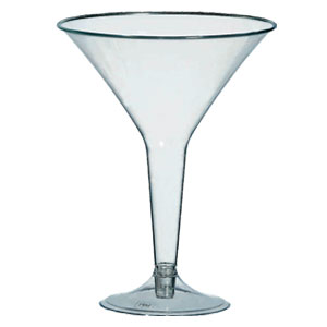 Clear Plastic 8 Ounce Martini Glasses- 20ct