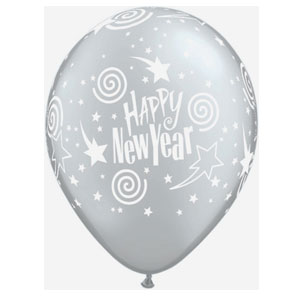 New Year's Swirling Stars Balloons- Silver