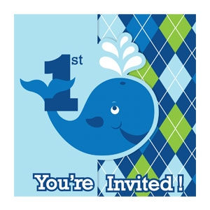 Ocean Preppy 1st Birthday Invitation - 8ct