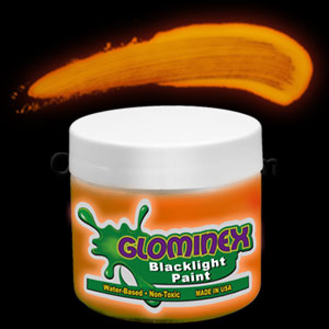 Glominex Blacklight UV Reactive Paint 4 oz Jar - Orange
