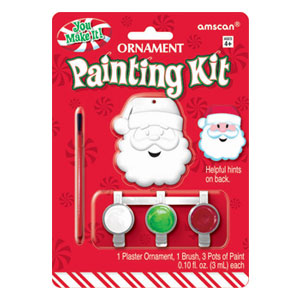 Santa Plaster Ornament Kit- 3pc