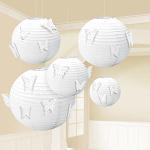 White Paper Lanterns with Butterfly Attachments- 5ct