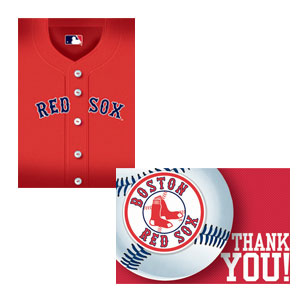 Boston Red Sox Invitations and Thank You Cards Set- 16ct