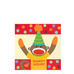 Monkey Party Beverage Napkins- 16ct