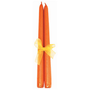 Orange Glitter Taper Candles- 2ct