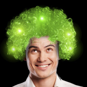 LED Afro Wig - Green